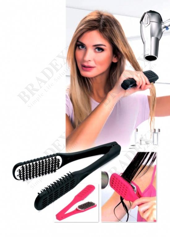 Расческа для выпрямления волос феном «шелковые пряди» черная (straight n go, black color)