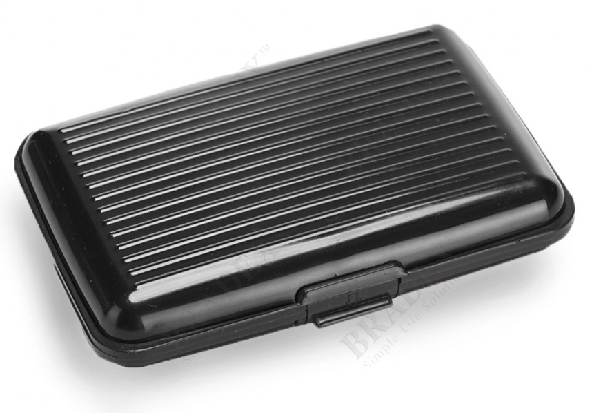 Кошелек алюминиевый, черный «мультикард» (aluma wallet)