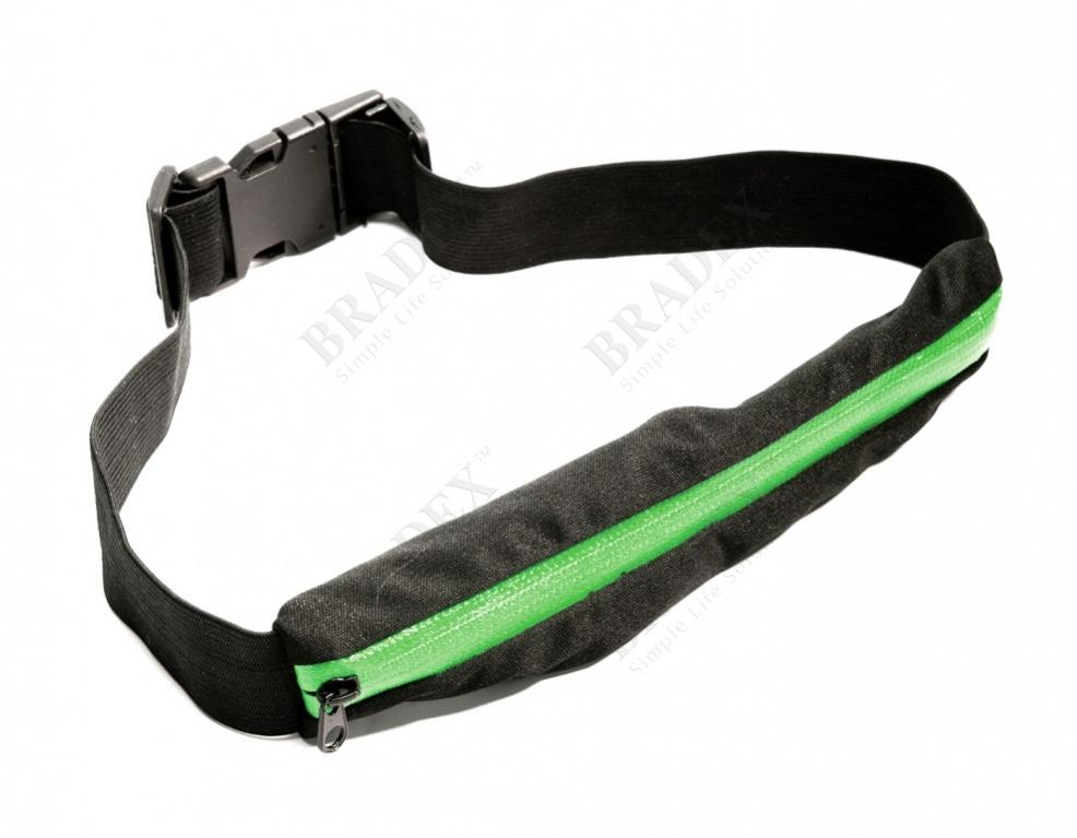 Ремень-кошелек эластичный, цвет зеленый (push pocket belt, green)