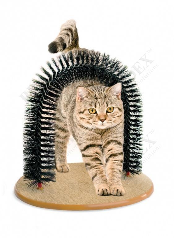 Когтеточка со щеткой «кошачье удовольствие» (purrfect arch)