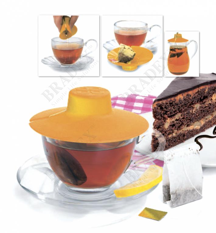 Крышка для заваривания и отжима чайных пакетиков, оранжевая (tea bag buddy, orange)