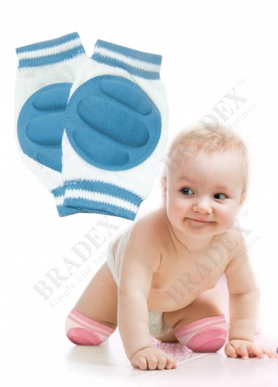 Наколенники детские для ползания голубые (baby thicken sponge crawl knee pads, blue)