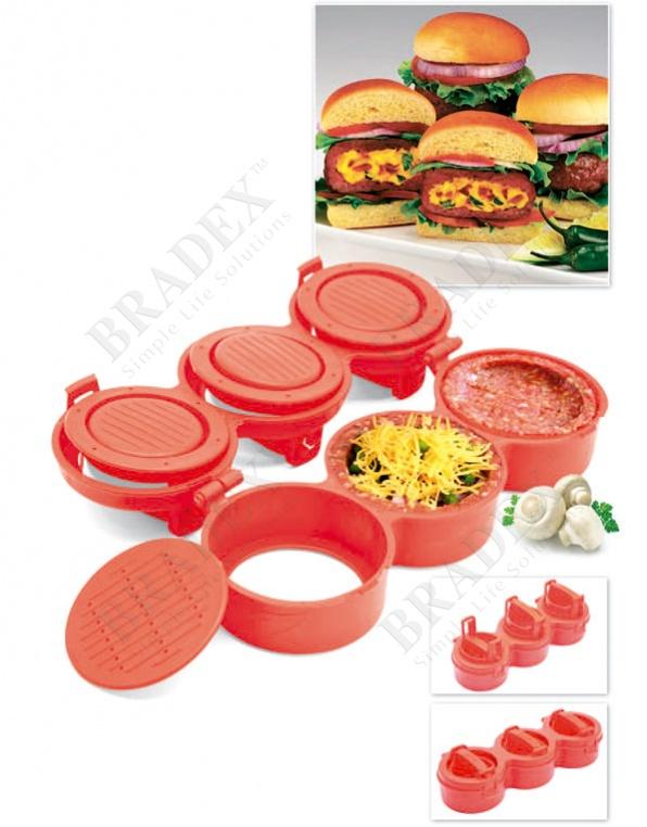 Пресс для формирования котлет с начинкой «от шефа» 3 в 1 (stufz stuffed burgers 3 in 1)