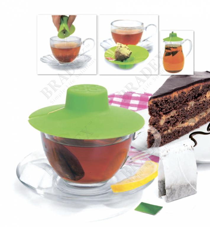Крышка для заваривания и отжима чайных пакетиков, зеленая (tea bag buddy, green)