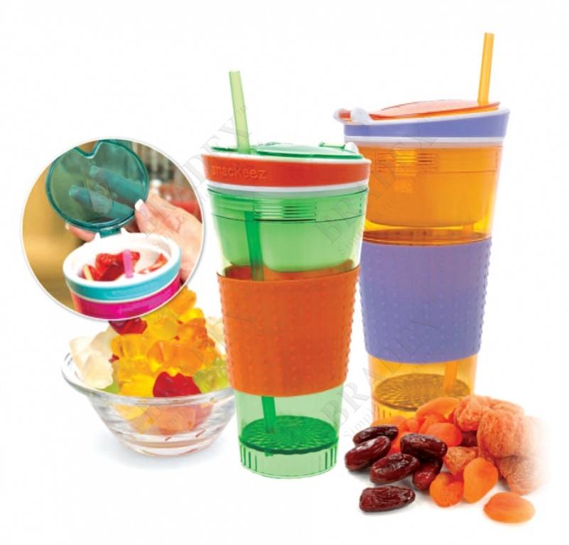Стакан с отделением для закусок (2 in 1 snack & drink cup/ plastic cup)