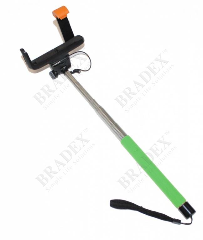 Штатив для создания снимков сэлфи зеленый (camera stick - selfie stick – green)