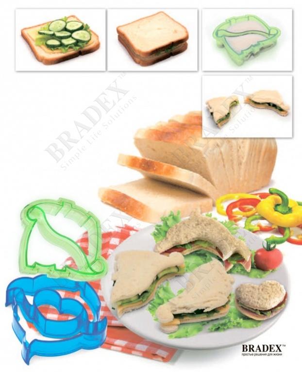Форма-резак для бутербродов и выпечки «динозаврики» (sandwich shape cutter dinosaur)