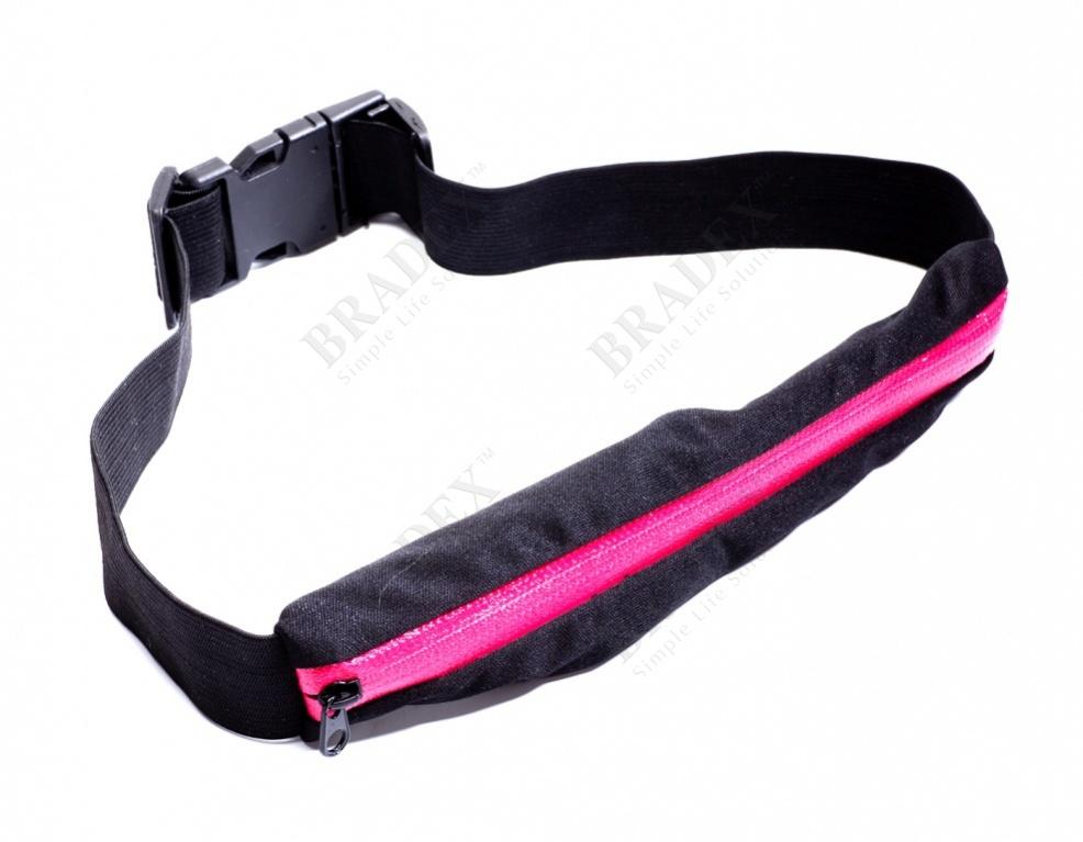 Ремень-кошелек эластичный, цвет малиновый (push pocket belt, crimson)