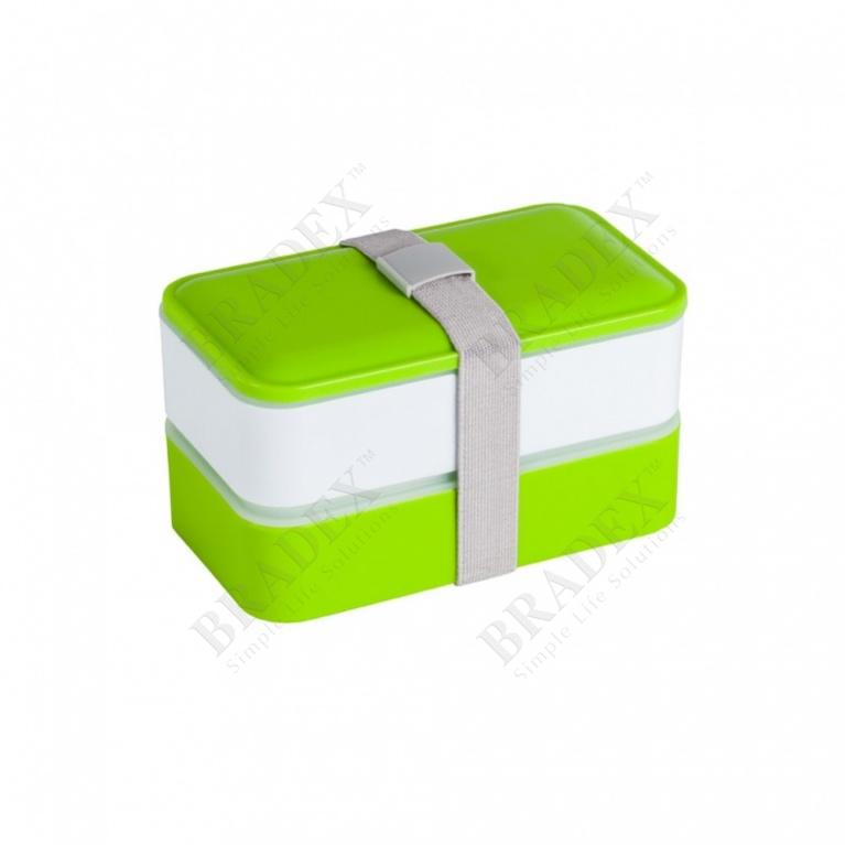 Ланч-бокс прямоугольный с двумя отделениями и приборами, 1,2 л. (rectangular lunch box with two compartments and cutlery, 1,2 l)