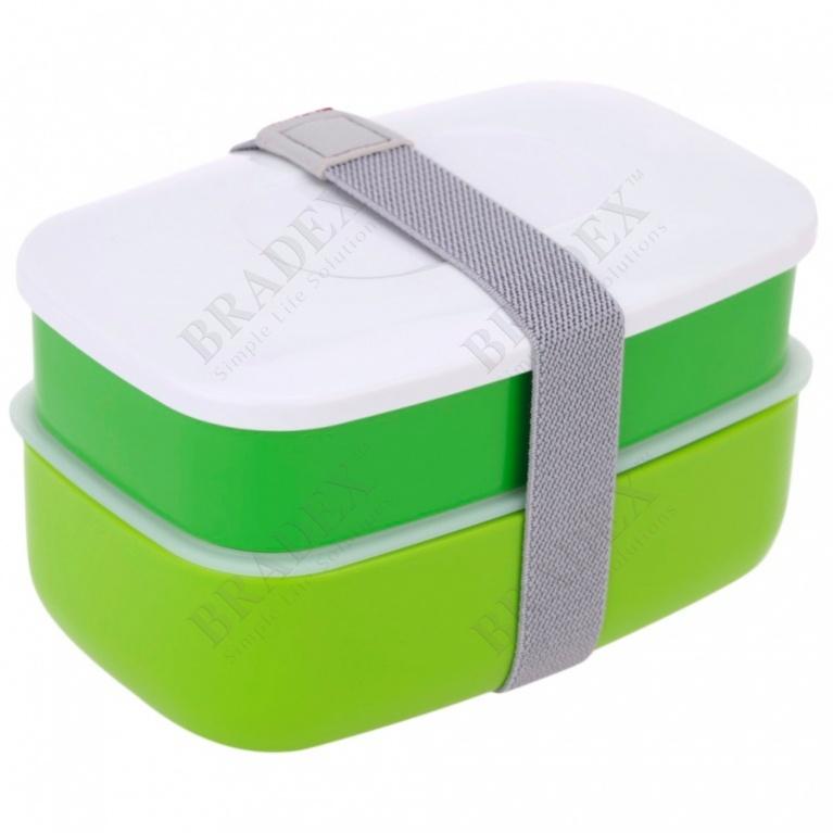 Ланч-бокс с двумя отделениями и приборами, 1,2 л. (lunch-box with two compartments and cutlery, 1,2 l)
