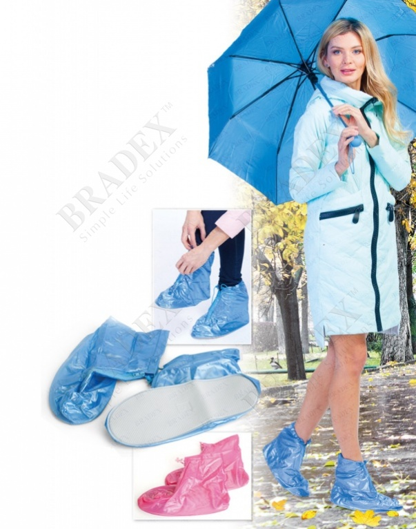 Чехлы грязезащитные для женской обуви без каблука, размер l, цвет голубой (pvc rain boots, size l, blue color)