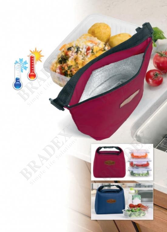 Термосумка на молнии с ручкой, винный цвет (termo lunch bag, wine red)