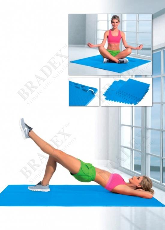 Коврик для фитнеса секционный (fitness mat, blue color)