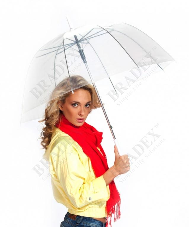 Зонт-трость «прозрачный купол» (transparent umbrella)