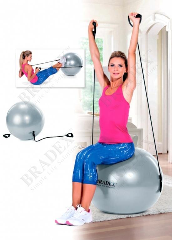 Мяч для фитнеса «фитбол-65 с эспандерами» (fitness ball with expanders, grey)