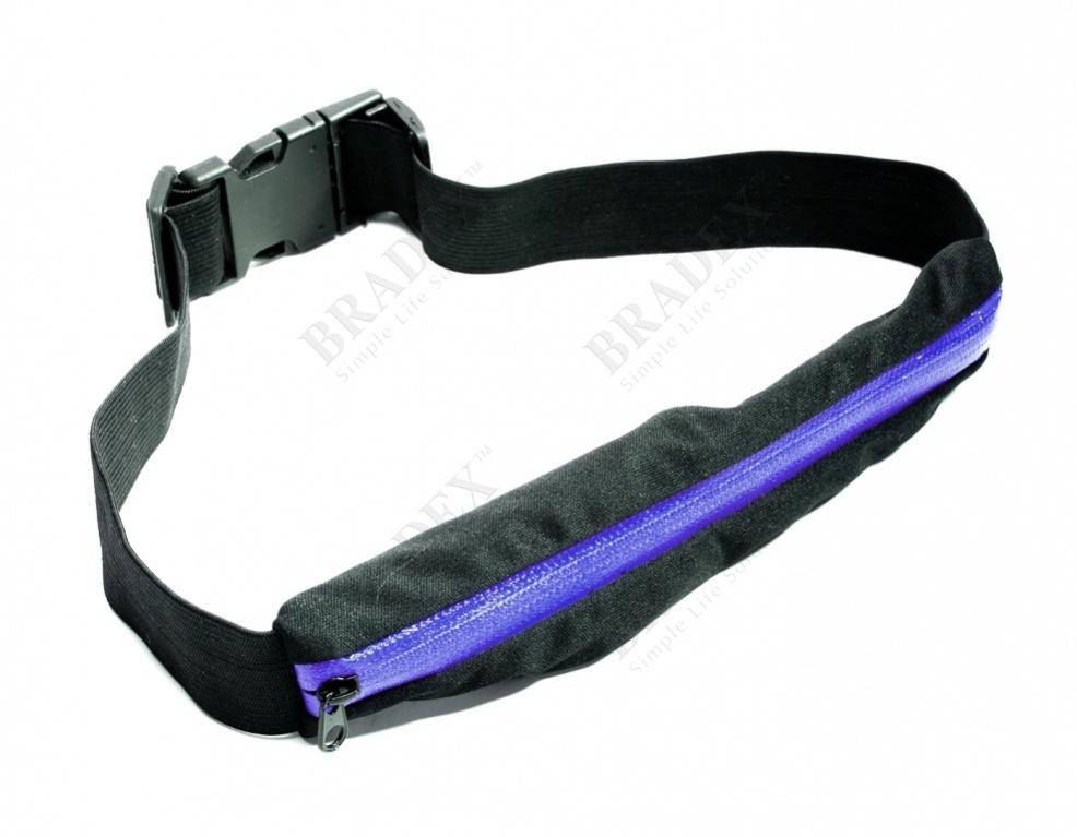 Ремень-кошелек эластичный, цвет синий (push pocket belt, blue)