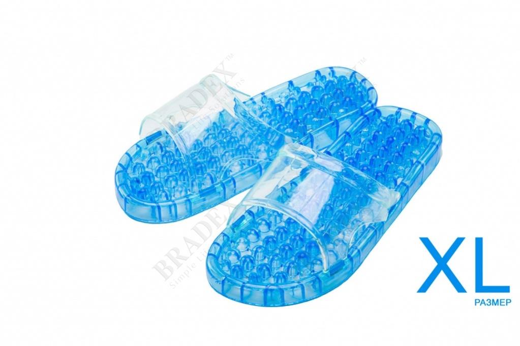 Тапочки массажные из силикона xl (28см) (massage slippers size xl, blue color)