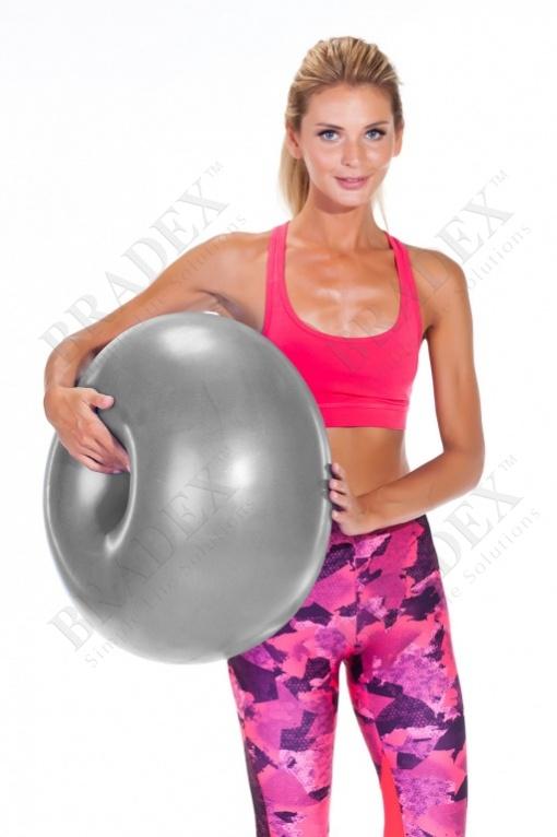 Мяч для фитнеса «фитбол-пончик» (gym ball donut, grey)