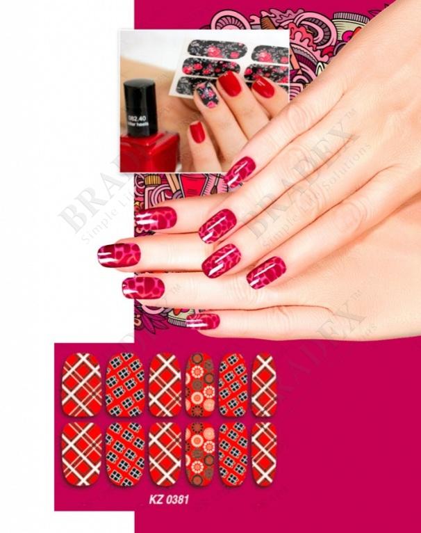 Арт-пленка для дизайна ногтей «шотландка» (nail polish wraps zx1932)