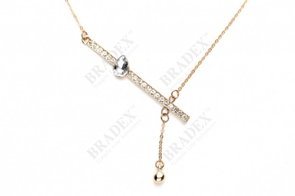 Колье «хрустальная капля» цвет золотой chain with pendant купить оптом