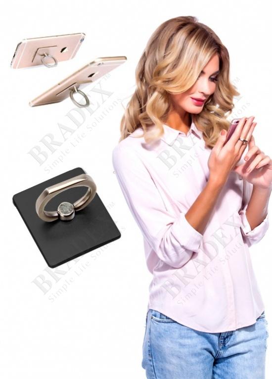 Кольцо-держатель и подставка для телефона и планшета, черное (iring, black)