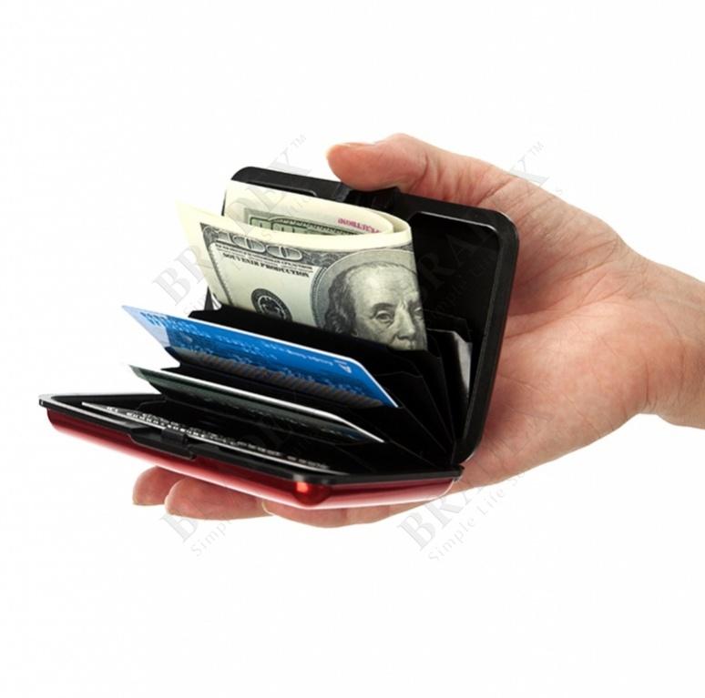 Кошелек алюминиевый, красный «мультикард» (aluma wallet)