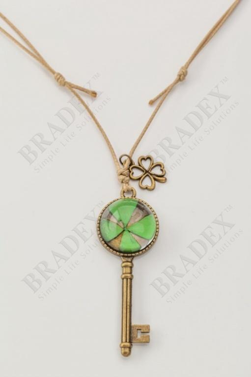 Кулон «ключ» зеленый wf-041530 купить оптом