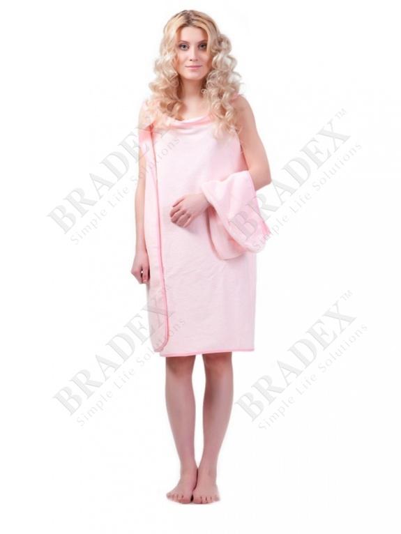 Халат-полотенце, розовый «с легким паром» (bath towel, pink)