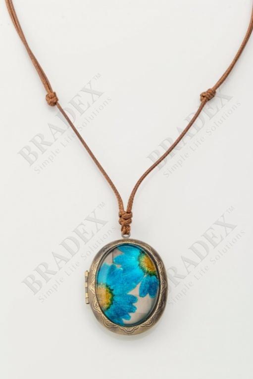 Кулон «медальон» голубой wf-1213-02 купить оптом