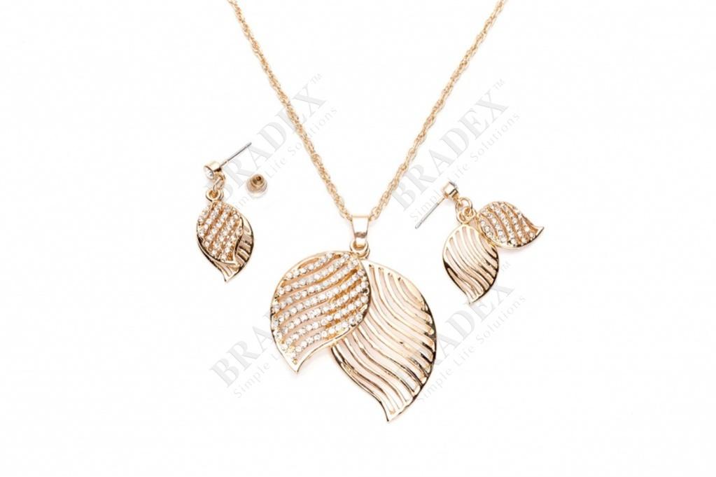 Комплект «осений листопад» (set: earrings and pendant with chain st140050)