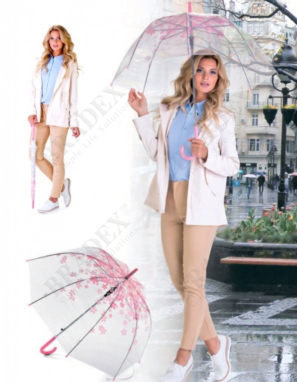 Зонт-трость «нежность» (umbrella transparent with light pink flowers)