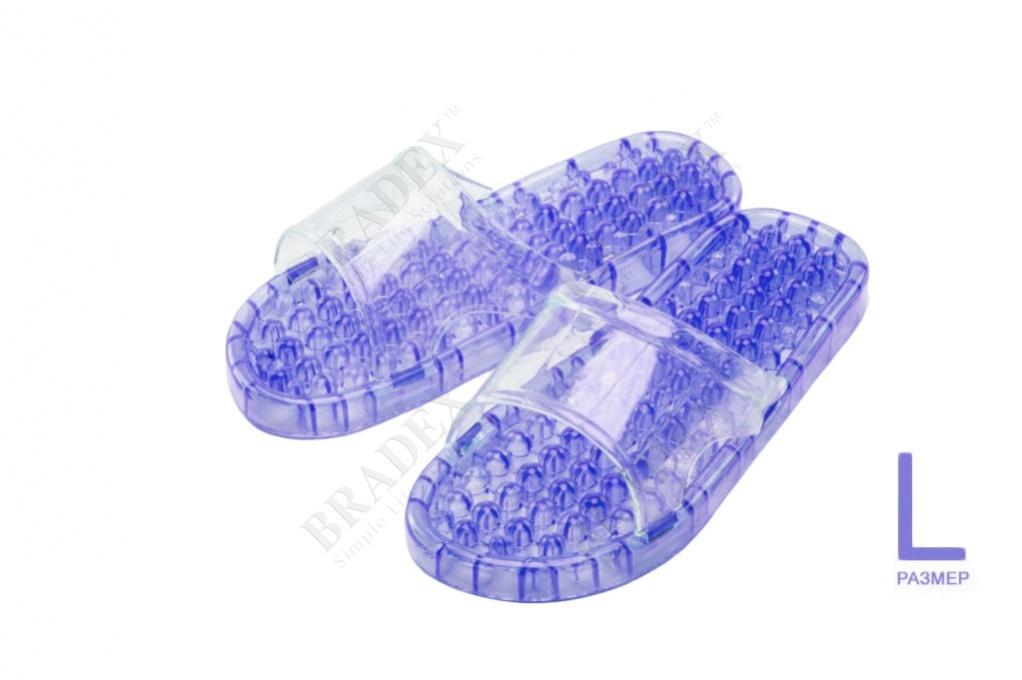 Тапочки массажные из силикона l (26см) (massage slippers size l, lavender)