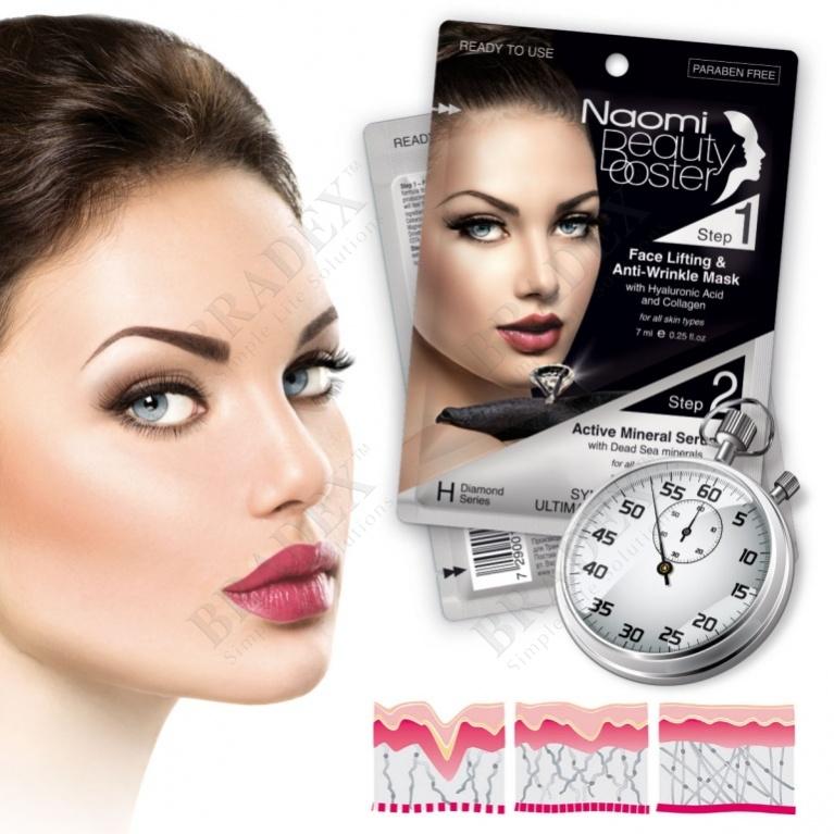 Комплексный уход за лицом: маска-лифтинг, 7 мл. и активная минеральная сыворотка, 3 мл. «naomi» (face lift mask + active mineral serum)