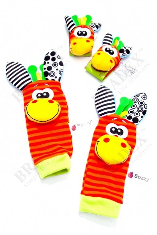 Набор детских носочков и напульсников с погремушками «забавные зверюшки» (baby rattle toys)
