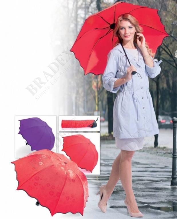 Зонт с проявляющимся рисунком, фиолетовый (umbrella with appeared pics when it is wet (purple))