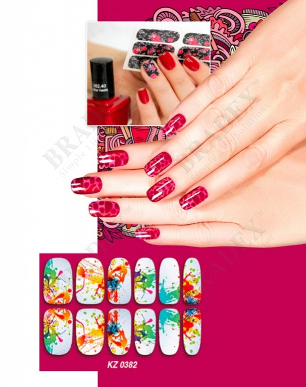 Арт-пленка для дизайна ногтей «акварель» (nail polish wraps zx869)