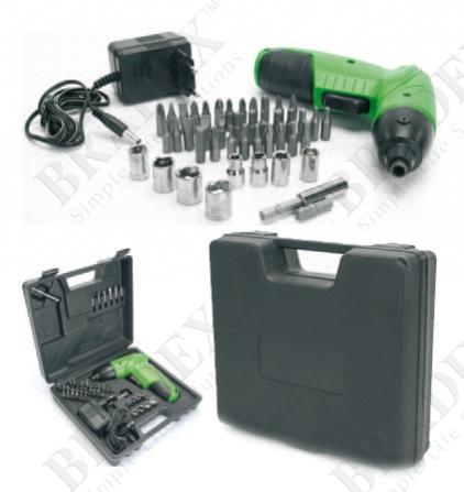 Шуруповерт в кейсе с набором насадок (45 предметов) (45pcs cordless screwdriver set)