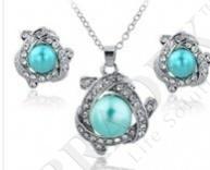 Комплект «лазурный берег» (set: earrings and pendant with chainst140043)