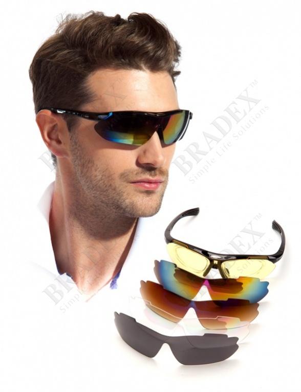 Очки спортивные солнцезащитные с 5 сменными линзами в чехле, красные (sport sunglasses, red)