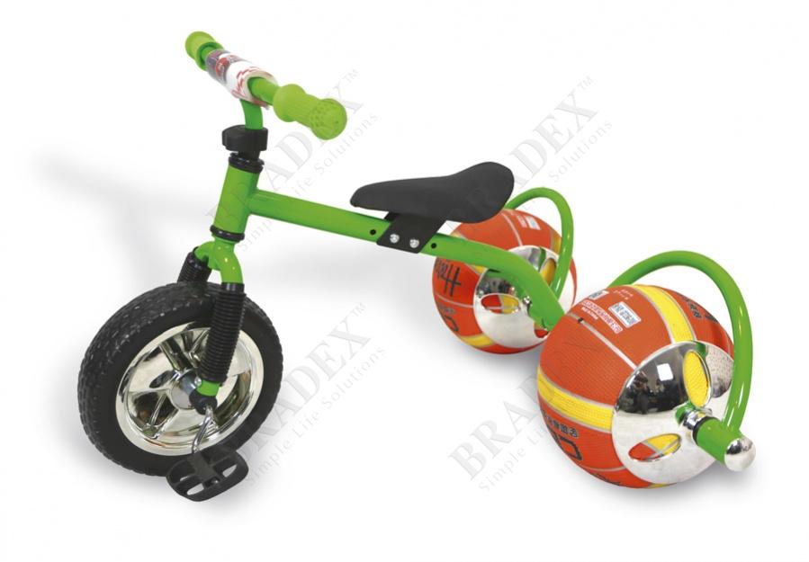 Велосипед с колесами в виде мячей «баскетбайк» зелёный (walking bike on ball, two)