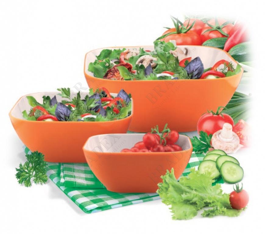 Салатник 25 см квадратный оранжевый (salad bowl small)