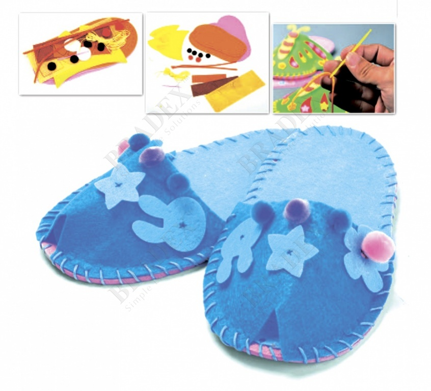 Набор для творчества «шьем тапочки» модель цветок голубой (art and craft kit slippers diy - blue)