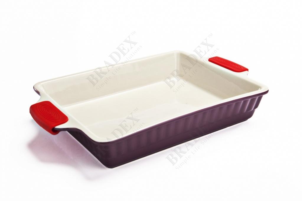 Форма керамическая с силиконовыми ручками «повар» (ceramic baking tray with silicon handle)
