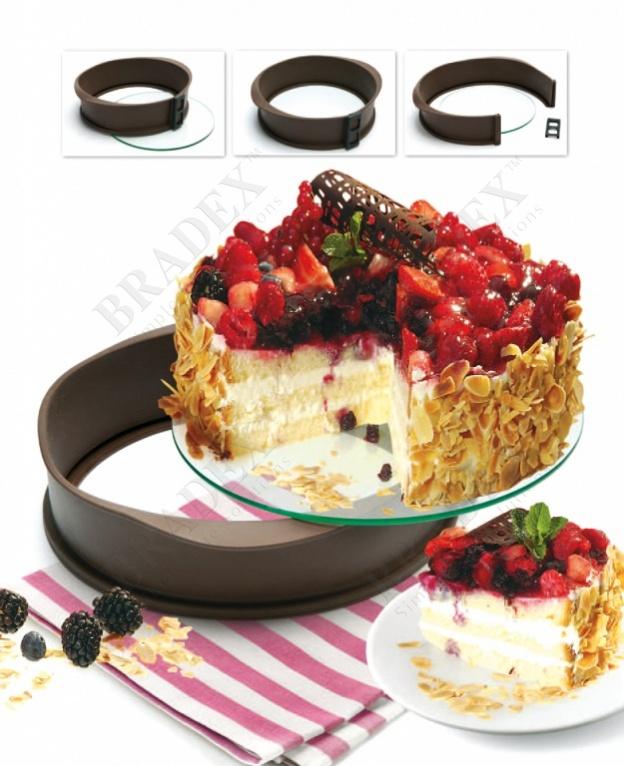 Форма для выпечки антипригарная разъемная (baking form 26*7cm silicone+glass)
