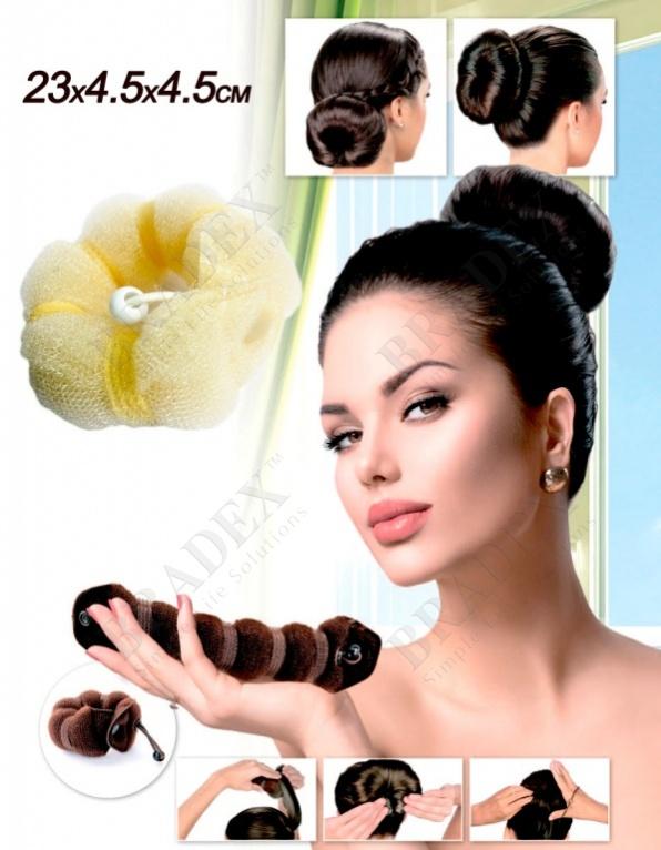 Валик для волос для создания прически «пучок» цвет блонд, 23х4,5х4,5см (hot buns blond color big size)