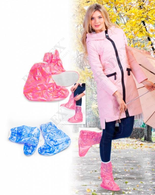 Чехлы грязезащитные для женской обуви - сапожки, размер l, цвет розовый (pvc rain high boots, size l, pink color)