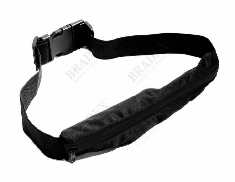 Ремень-кошелек эластичный, цвет черный (push pocket belt, black)