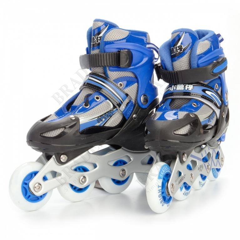Коньки роликовые детские раздвижные размер l (синие) (roller skates, l (blue))