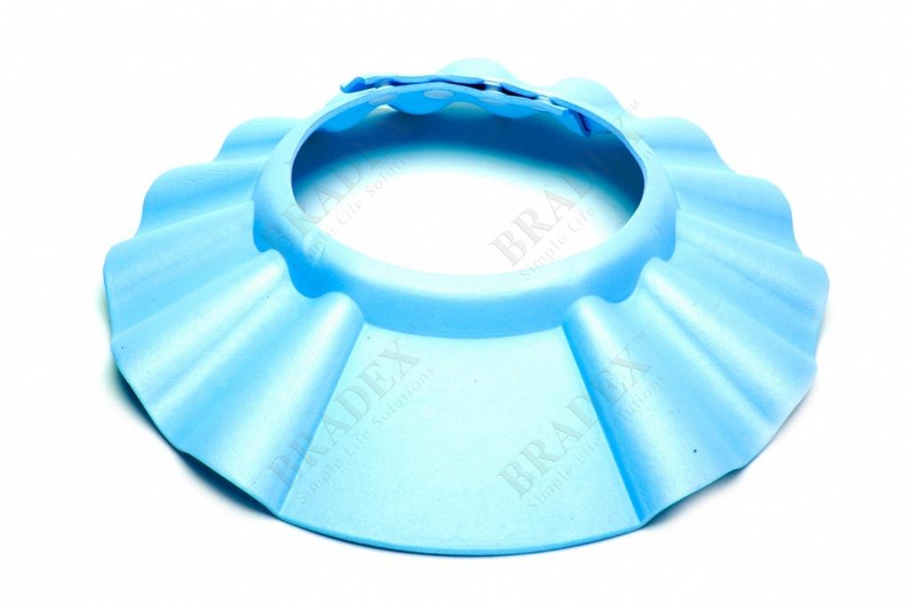 Шапочка - козырёк для мытья головы детская «купаемся без слёз» голубой (baby shower cap)
