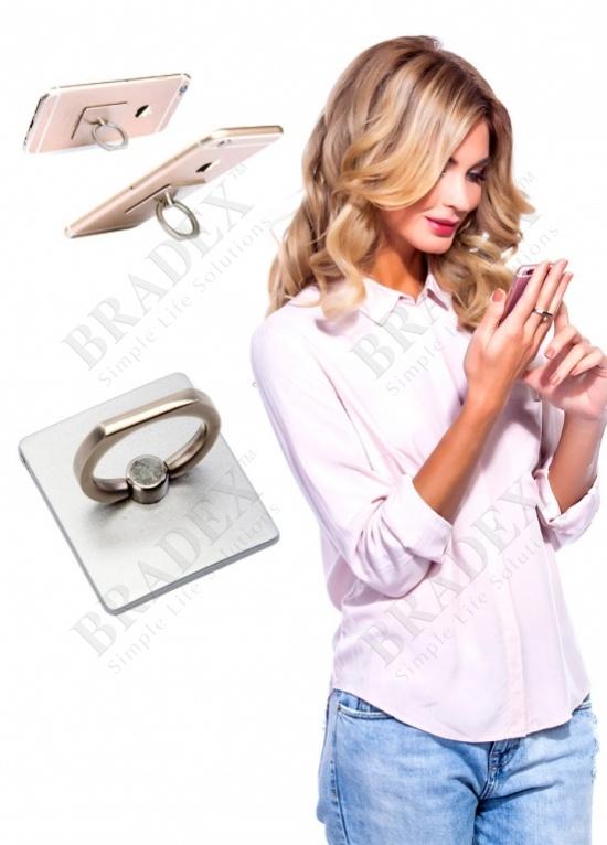 Кольцо-держатель и подставка для телефона и планшета, серебряное (iring, silver)
